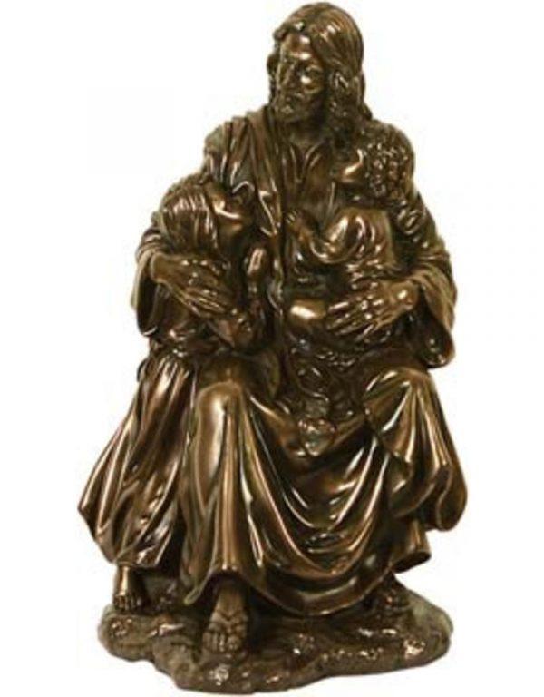 Verbronsde Dhr. Jezus met 2 kinderen Beeld 20 cm kopen webshop
