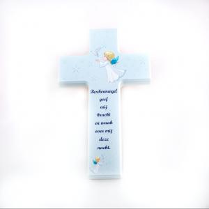 Kinder Muur kruis Blauw met tekst 12 x 20 cm webshop bestellen