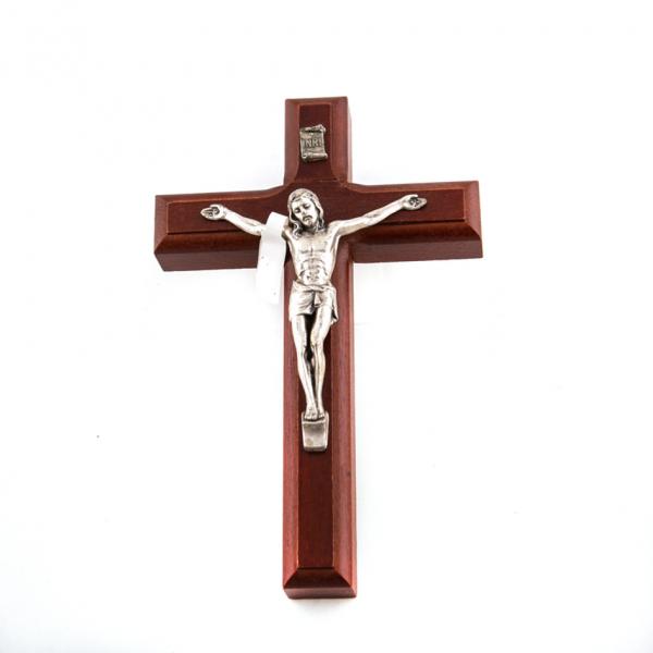 Houten Muurkruis met Corpus / Kruisbeeld 15 cm bestellen online