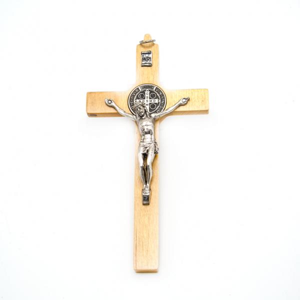 Hlg. Benedictus Muurkruis van hout / Kruisbeeld, 16/8 cm kopen online