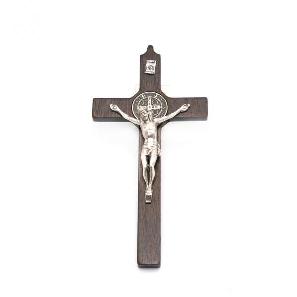 Hlg. Benedictus muurkruis / kruisbeeld van walnoothout, 16/8 cm webshop kopen