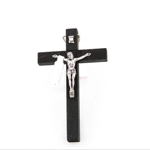 Houten Muurkruis met Corpus /kruisbeeld 10 cm te koop Zwart