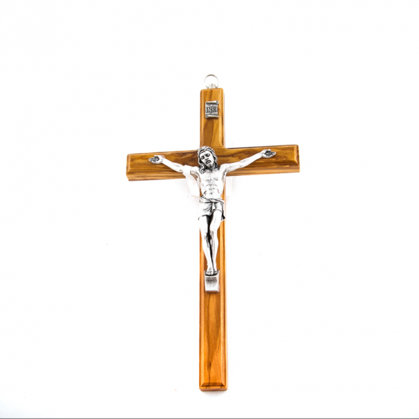 Houten Muurkruis met Corpus / kruisbeeld van Olijfhout 20 cm te koop webshop