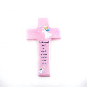 Kind Kruis van Hout meisje Roze 15 x 9 cm Doopel en Heilige Eerste Communie webshop te koop