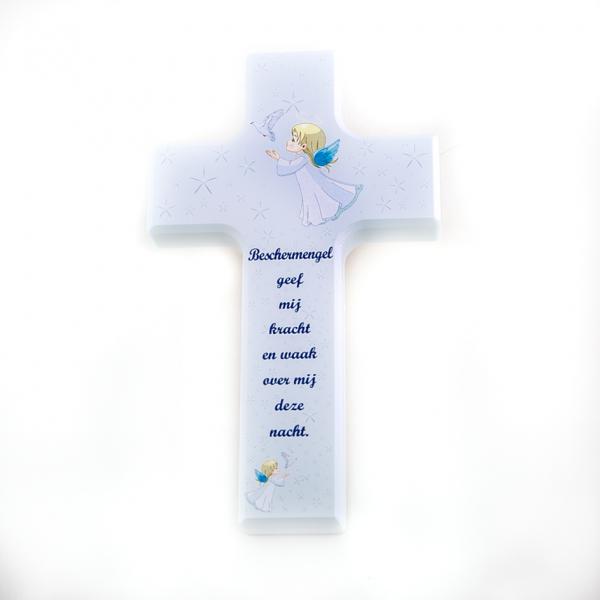 Kind Kruis van Hout voor jongen blauw 15 x 9 cm doopsel Heilige eerste Communnier kopen