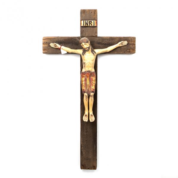 Houten Muurkruis met corpus / kruisbeeld 75 x 42 cm groot te koop