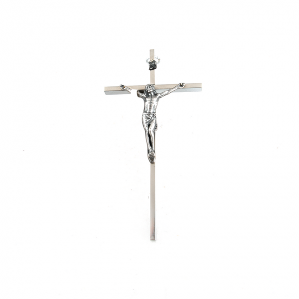 Zilverkleurig messing Muurkruis met corpus / kruisbeeld webshop online