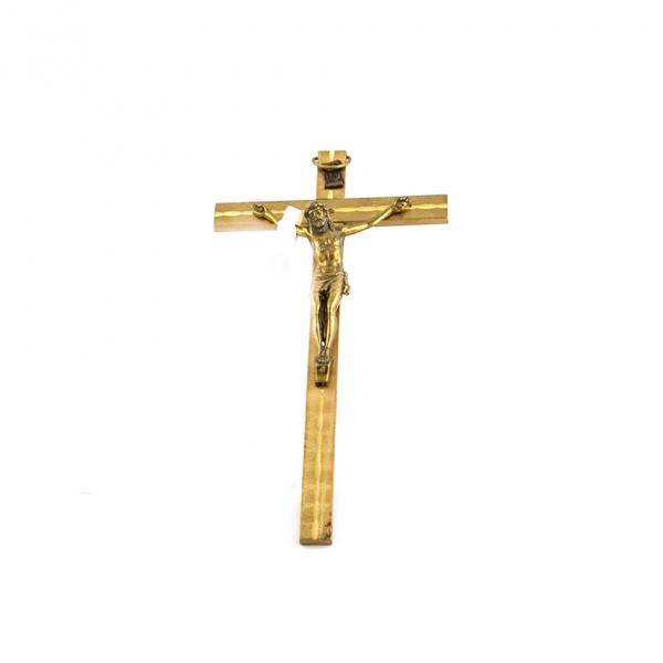 Goudkleurig metaal Muurkruis met corpus / kruisbeeld 15 cm kopen