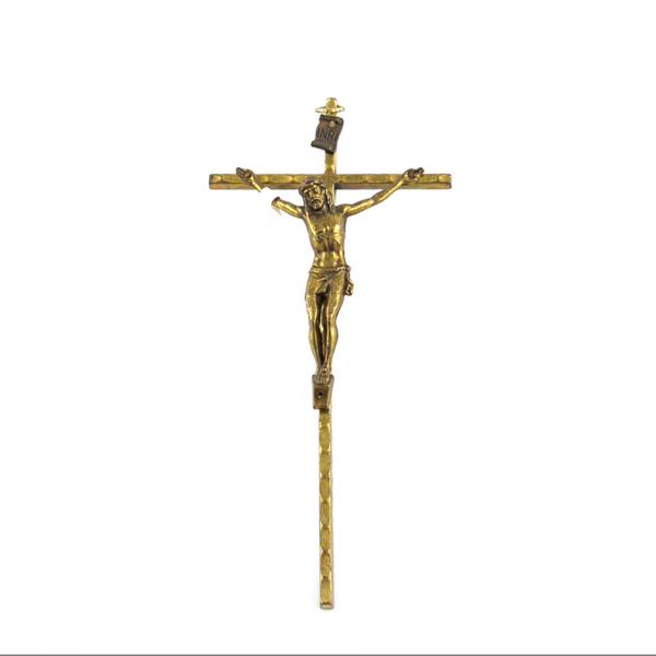 Goudkleurig metaal Muurkruis met corpus / kruisbeeld 15 cm webshop kopen