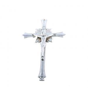 Verchroomd metaal Muurkruis met corpus / kruisbeeld 28 cm online kopen