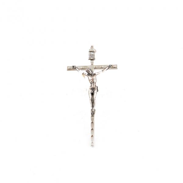 Zilverkleurig metaal muurkruis met corpus / kruisbeeld 11 cm kopen onlne