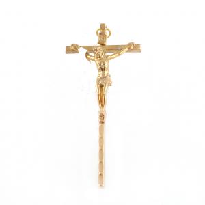 Goudkleurig metaal Muurkruis met corpus kruisbeeld 9 cm kopen online