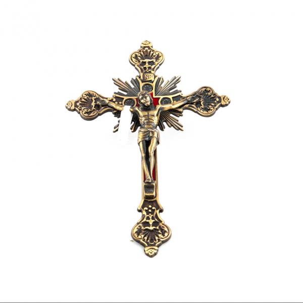 Bronzen Muurkruis met Corpus / Kruisbeeld 20 cm kopen online