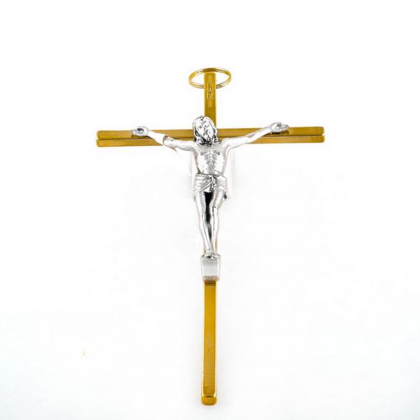 Goudkleurig Muurkruis met corpus / kruisbeeld 20 cm kopen online