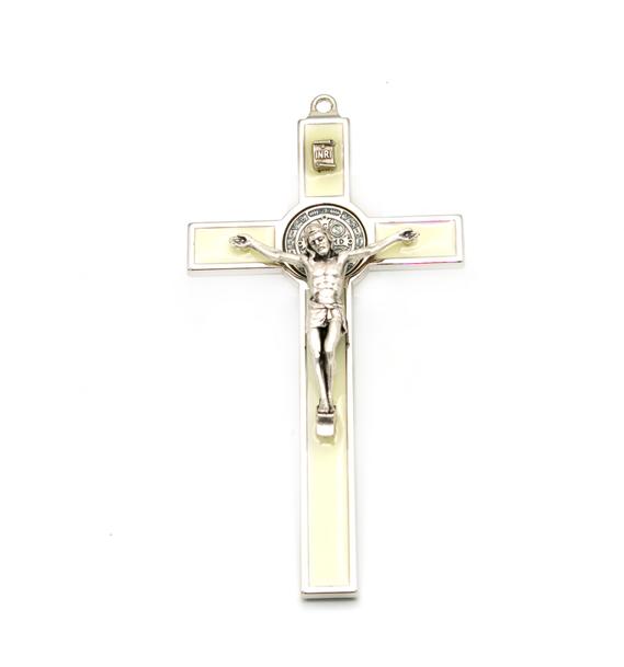 Hlg. Benedictus Muurkruis Wit is lichtgevend 13,5 cm kopen online
