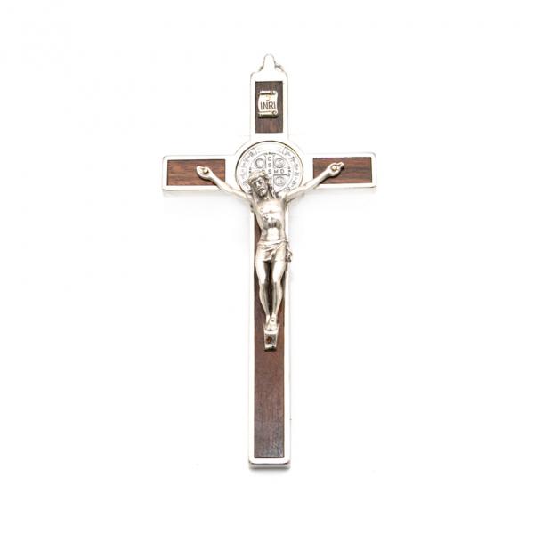 Hlg. Benedictus Muurkruis met rozenhout 16 x 8 cm kopen online