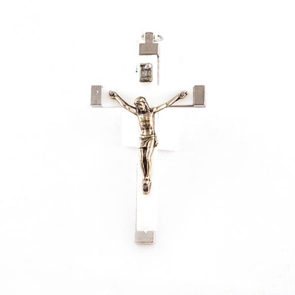 Muurkruisje met corpus / kruisbeeld lichtgevend plastic met metaal 7 cm kopen online